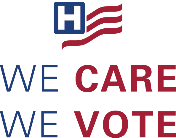 We Care, We Vote vertical stacked logo