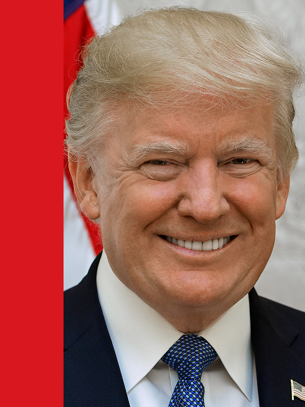 Photo of Republican presidential candidate Donald Trump with red vertical overlay