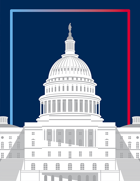 graphic illustration of Capitol Building against blue background