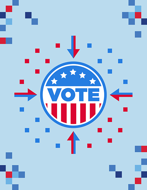 Illustration of a stars-and-stripes themed VOTE button