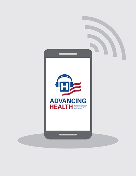 Illustration of a mobile device with AHA Advancing Health podcast logo on screen