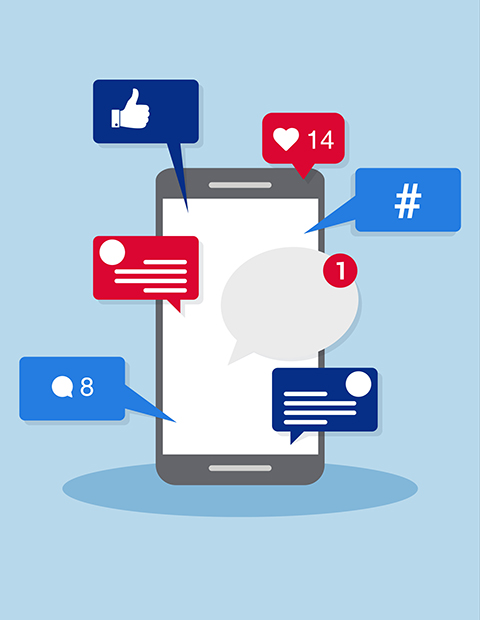 Illustration of a mobile device surrounded by social media icons
